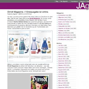 """JAgentin """"Dirndl Magazine - Erstausgabe ist online"""" - 28. Juli 2011"""